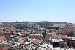 Старый город панорамы Иерусалима - восточной Стоковые Изображения