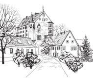 Старый городской пейзаж городка с улицей. Эскиз исторического здания и дома. Стоковые Изображения