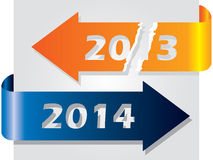 Старый год против Нового Года проиллюстрированного с стрелками Стоковое фото RF
