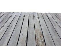Старый год сбора винограда planked деревянная таблица в перспективе изолированная на белизне Стоковое Фото