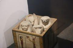 Старый гроб ферзя в музее Луксора, Египта Стоковые Изображения