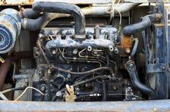 Старый двигатель Backhoe стоковое фото