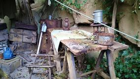 Старый деревенский голубой автомобиль в глуши стоковое фото rf