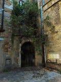 Старый деревянный свод двери на предпосылке желтой каменной стены Стоковые Изображения RF