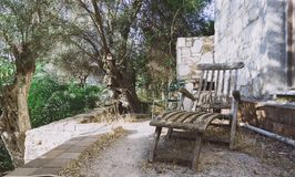 Старый длинный стул в саде стоковые фото