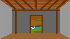 Старый дом ` s чабана Изображение показывает интерьер дома, где оно пусто без мебели иллюстрация штока