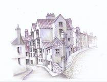 Старый европейский городок эскиз бесплатная иллюстрация