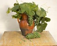 Старый деревенский кувшин с зелеными виноградинами и виноградиной выходит на деревянный крупный план предпосылки Стоковое Фото