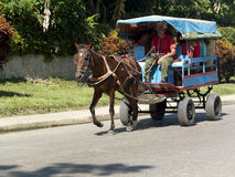 Старый деревенский экипаж вытягиванный лошадью Стоковые Изображения RF
