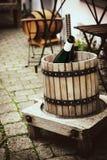Старый деревянный винный пресс Стоковые Изображения