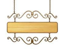 Старый деревянный знак на цепях. Стоковые Изображения