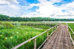 Старый деревянный мост с голубым небом Стоковое Фото