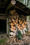 Старый деревянный охотничий домик Стоковое фото RF
