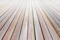 Старый деревянный стол или деревянный пол на деревянных предпосылках стены Стоковая Фотография