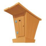 Старый деревянный туалет страны с закрытой дверью бесплатная иллюстрация
