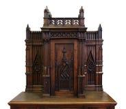 Старый деревянный secretaire на белой предпосылке Стоковая Фотография