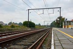 Старый железнодорожный вокзал маленького города Zeebrugge Стоковые Фото