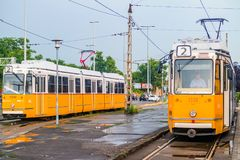 Старый желтый трамвай в Будапеште Стоковая Фотография