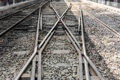 Старый железнодорожный след поезда на железнодорожном вокзале Стоковое Изображение RF