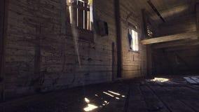 Старый загубленный интерьер церков съемка steadicam Ровное движение сток-видео