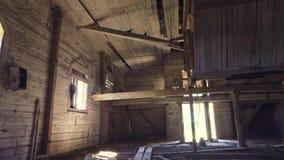 Старый загубленный интерьер церков съемка steadicam Ровное движение акции видеоматериалы