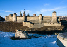 Старый замок в Kamenets-Podolsky Украине Стоковые Изображения RF