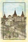 Старый замок, иллюстрация Стоковое Фото
