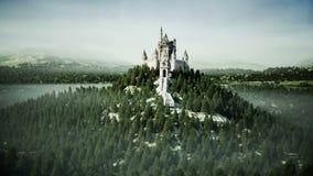Старый замок сказки на холме вид с воздуха Реалистическая анимация 4K иллюстрация штока