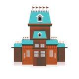 Старый замок украшенный с иллюстрацией вектора флагов Стоковое Фото