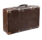 Старый затрапезный кожаный чемодан стоковое фото rf