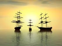 старый заход солнца кораблей Стоковое Фото