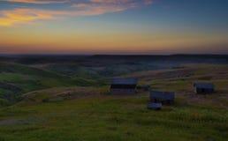Старый заход солнца ранчо в Монтане стоковые фотографии rf