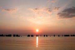 старый заход солнца пристани Стоковая Фотография