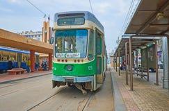 Старый зеленый трамвай, Александрия, Египет Стоковое Изображение RF