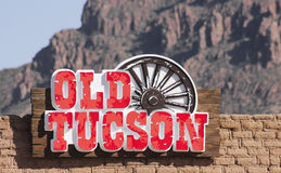 Старый знак входа Tucson, Tucson, Аризона Стоковая Фотография RF