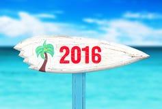 Старый знак на пляже с космосом для текста Стоковая Фотография RF