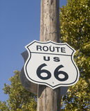 старый знак трассы 66 Стоковая Фотография