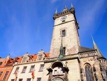 Старый здание муниципалитет в Праге рано утром, чехия Стоковая Фотография