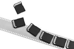 Старый изолированные фильм и современные цифровые карточки SD компакта Стоковая Фотография