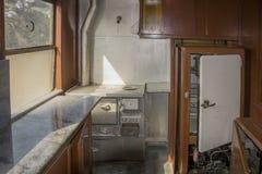 Старый интерьер фуры поезда стоковые изображения rf