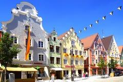 Старый исторический средневековый старый городок Живописный городской центр Mindelheim Стоковая Фотография RF