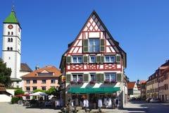 Старый исторический средневековый старый городок Wangen Стоковая Фотография