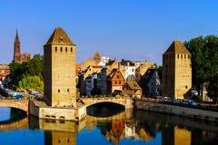 Старый исторический центр страсбурга Башни и briges крепости Стоковая Фотография