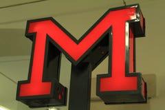 Старый и винтажный знак входа метро стоковое фото