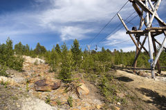 Старый кабел-кран минирования, медный рудник, Folldal Стоковое Фото