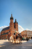 Старый квадрат рынка в Краков, Польша Стоковые Фото