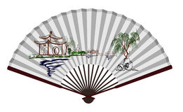 Старый китайский вентилятор с сценарным пятном Стоковые Изображения