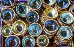 Старый китайский керамический блошинный Пекин c Panjuan стеклянных пластинок стоковые фотографии rf