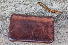 Старый кожаный бумажник Стоковое фото RF