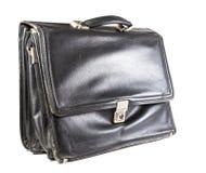 Старый кожаный портфель на белой предпосылке Стоковые Изображения